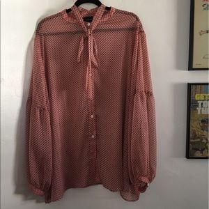 Who What Wear Pink Sheer Polka Dot Bow Blouse